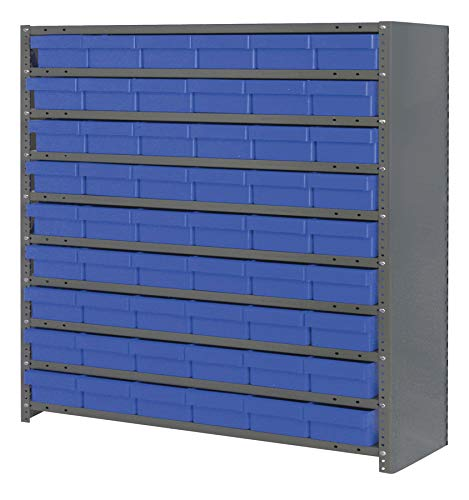 (Quantum Storage Systems CL1239-401BL Closed Shelving System with Super Tuff Euro Drawers, 54 QED401 Shelf Bins, 12