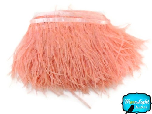 Price comparison product image Moonlight Feather ,  PEACH Ostrich Fringe Trim Feather - 6 Inch Strip of Ostrich Feathers