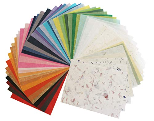 Assorted Color 65 Sheets 8.5x11 Inch Mulberry Paper Sheet Design Craft Hand Made Art Tissue Japan Origami Washi Wholesale Bulk Unryu Suppliers Thailand Product Card Making Japanese Washi Collage Rice