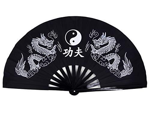 - Amajiji Large Double Dragons Chinese Fan Tai Chi Kung Fu Folding Fan, Bamboo Frame Women/Men Hand Fans (Black)