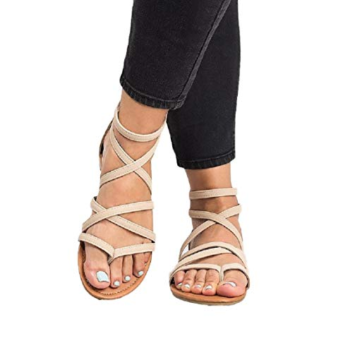 (Ruanyu Womens Strappy Gladiator Flat Sandals Ankle Strap Open Toe Summer Sandals)