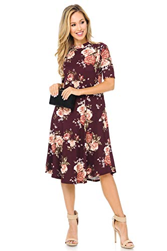 Dress Trapeze Floral - iconic luxe Women's Mock Neck Trapeze Midi Dress Medium Floral Wine Rust