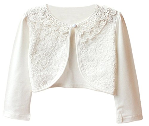 Aulase Kids Girls Base Cardigan Sweater Long Sleeve Vintage Lace Bolero Shrug White 5-6Y