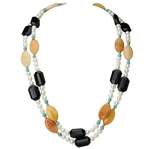 Pearl Element Jewelry Necklace (Multi-Strand Cultured Freshwater Pearl Necklace with Stones & 14k Beads and Clasp- 17 IN)