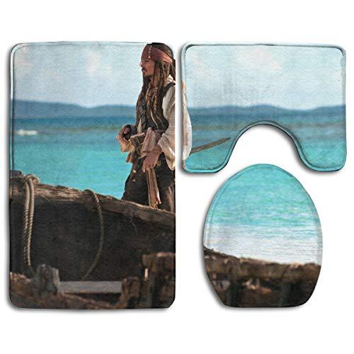 Jack Sparrow Pirates of The Caribbean On Stranger Tides 3 Piece Bathroom Mats Set Toilet Floor Mats Set Non-Slip Toilet Bath Rugs Home Decor Printed Bathroom Carpets]()