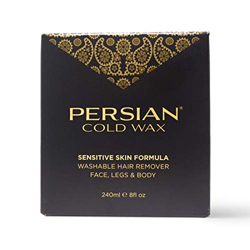 Persian Cold Wax Kit, Hair Removal Sugar Wax for Body Waxing Women & Men, 8 oz (240ml) wax, 20 strips, 2 spatulas.