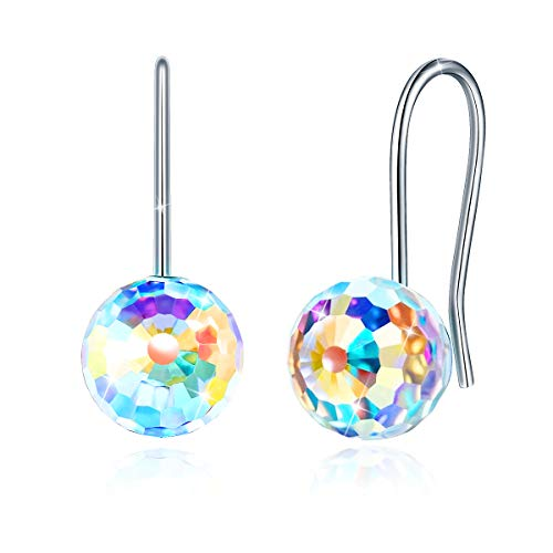 CRYSLOVE Crystal Earrings for Women Girls, 925 Sterling Silver Drop Dangle Earring 18K Platinum Plated Aurora Ball Crystal Jewelry