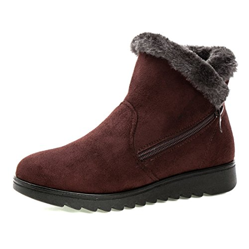 On O&N Women Girls Faux Fur Winter Warm Ankel Boot Wide Calf Snow Boots Brown TCS8wE