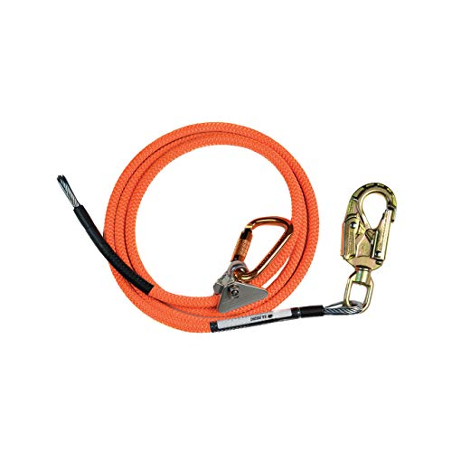 ProClimb Steel Wire Core Flip Line Kit (1/2 in) – Mini Rope Grab Adjuster, Adjustable Rope Lanyard, Low Stretch, Cut Resistant - for Fall Protection, Arborist, Tree Climbers (Orange - 10 feet)