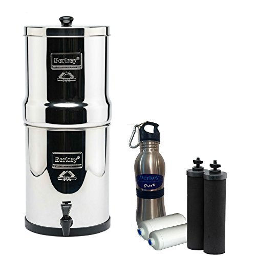 Royal Berkey Ditch-water Filter 3 Gallon System Bundle: 2 Black BB9 Filters, 2 Fluoride PF2 Filters, 1 Stainless Knife Water Bottle