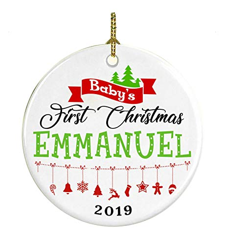 Christmas Tree Ornament Decoration Baby First Christmas 2019 Name Emmanuel - Gifts For Baby, Kid - Ceramic Ornament 3 Inches White