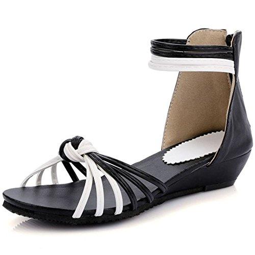 LongFengMa Ladies Comfortable Multicolor Zipper Flats Sandals Shoes Black