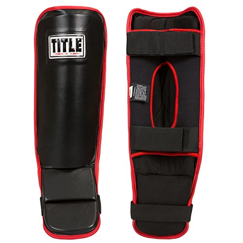 TITLE MMA Performance Grappling Shin Guards, Black/Red, Regular