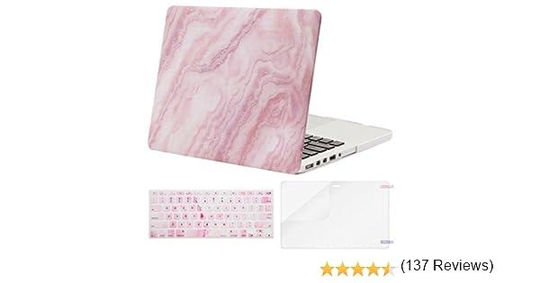 Estuche MOSISO Versión anterior MacBook Pro Retina de 13 pulgadas (A1502 y A1425), cubierta de teclado rígido con diseño de plástico y protector de pantalla y teclado, mármol blanco y rosado: Amazon.es: