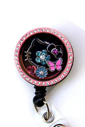 Floating Charm Rhinestone Memory Locket Retractable ID Badge Holders (Hello Kitty Pink Reel)