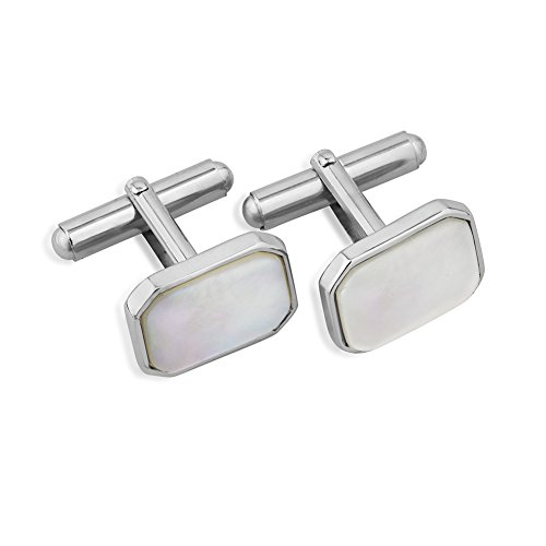 terling Silver White Shell Rectangular Cuff Links Set of Two (2) Men's Cufflinks (Sterling Silver Rectangular Cufflinks)