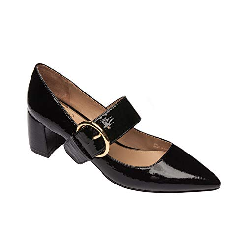 Burton | Contemporary Pointy Toe Mid Block Heel Buckled Mary Jane Patent Pump Black Crinkle Patent 10M