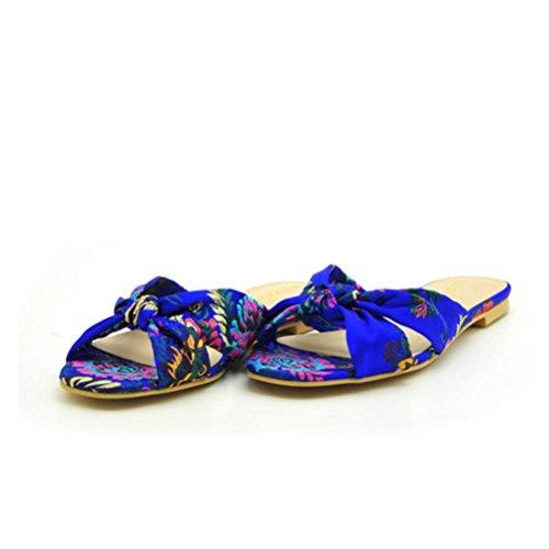 Stoffa Femminile blu di Infradito Pantofole scarpe Fiori Folk Folk Folk Open   927078