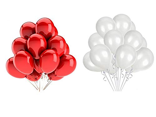 Vail Creations MADE IN INDIA 10inch Metallic Balloons for Birthday Decoration / Anniversary Party Decoration(Red + White,Pack of 100)