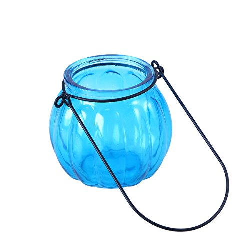 Mobestech Vintage Pumpkin Glass Candle Holders Hanging Crystal Tealight Candle Holders Home Decoration for Marriage Proposal Party Wedding Decor (Light Blue)