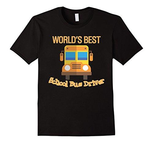 Mens Worlds Best School Bus Driver T-Shirt Gift Kids Last Day XL Black Worlds Best Bus Driver
