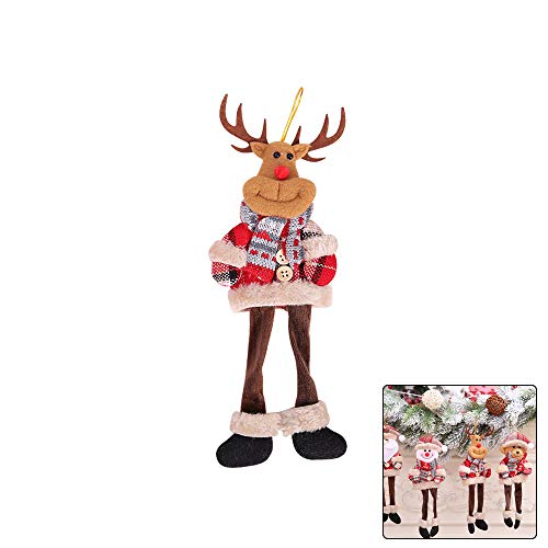 Ebeauty Christmas Trees Hanging Toy Long-Legged Elk Hanging Doll Toy Xmas Trees Hanging Ornaments Home Decoration