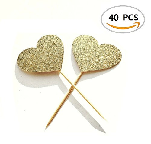 40PCS IFfree Best Heart Cupcake Toppers, Gold Glitter Heart Large Cupcake Toppers (Cupcake Cakes Baby Shower)