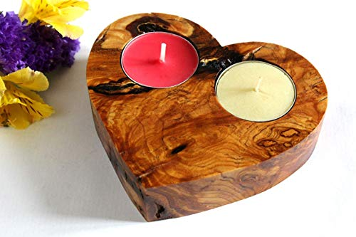 - CANDLE HOLDER Hand Made Olive Wood Unique gift for Valentine's day, Wedding, Housewarming, Birthday, Anniversary, for Him, for Her, Exclusive. FREE tracked shipping
