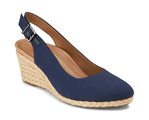 Blue Wedge Shoes - Vionic Women's Aruba Coralina Slingback Wedge - Espadrille Wedges with Concealed Orthotic Arch Support Navy 8.5 M US