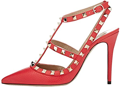 Calaier Mujer Caoften Tacón De Aguja 12CM Sintético Hebilla Sandalias de vestir Zapatos Rojo