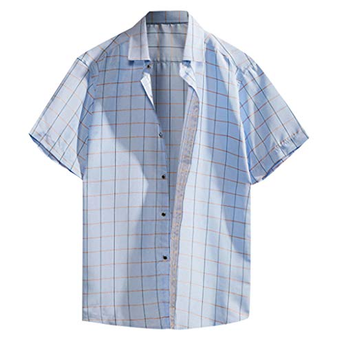 Trule Casual Shirts Summer Mens Print Shirts Casual Short Sleeve Beach Tops Loose Turn-Down Collar Blouse