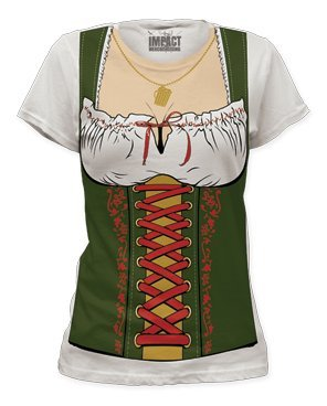 Impact Fraulein Octobeerfest Barmaid Junior's Fitted Costume T Shirt - Small (Adult Gretel Costume)