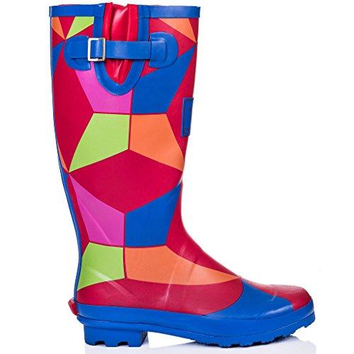 SPYLOVEBUY IGLOO Damen Verstellbare Schnalle Flache Fest Gummistiefel Regenstiefel Geo Rainbow
