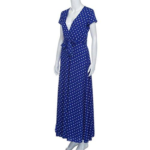 spacco lungo con party a impero pois stile spiaggia Blue Hansee per vestito boho da donna e stile prendisole xqC8zA