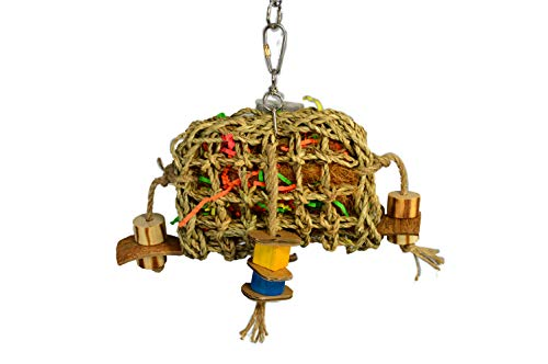 "Birds LOVE Small Seagrass Foraging Pouch Toy w Wood Toys on Natural Rope, Forage Hanging Chewing Fun for Conures Cockatoos Cockatiels - 10"" x 8"""
