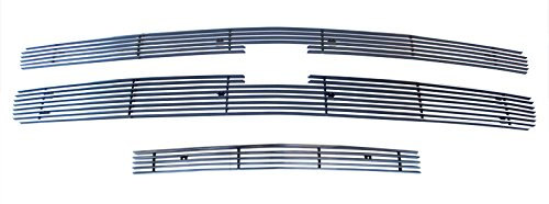 (MaxMate Fits 07-10 Chevy Silverado 2500/3500 3PC Combo Horizontal Billet Polished Aluminum Grille Grill Insert)