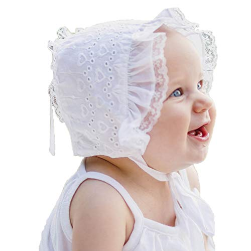 Huggalugs Baby Girls White Heart Eyelet Lace Bonnet 3-6m