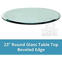 Round Glass Table Top, 1/2' Thick, Beveled Edge, Tempered Glass (23 inch)