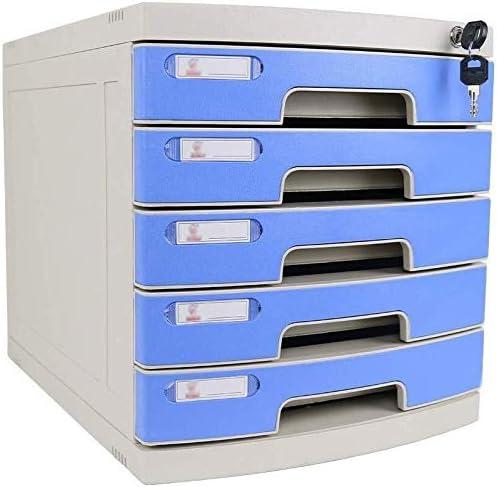 ファイルキャビネット ロック可能なデータオフィスストレージ引き出し機密デスクトップオーガナイザー高硬度アルミニウム合金素材Ppのプラスチック(30X37.5X32CM) オフィス用品 (Color : Blue, Size : 4-Layers)