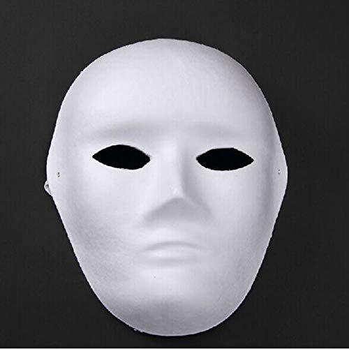 Blue Stones White Blank DIY Masquerade Mask for Women Men Holiday Costume Party Christmas -