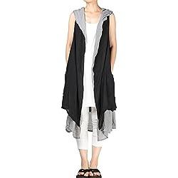 Mordenmiss Women's Contrast Color Long Waistcoat Asymmetry Hem Casual Vest (Size, Style 2-Black)