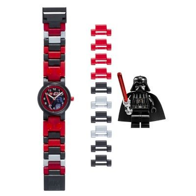 Mini Bracelet Watch (LEGO 8020301 Star Wars Darth Vader Kids Buildable Watch with Link Bracelet and Mini Figure | red/black | plastic | 28mm case diameter | analog quartz | boy girl | official)
