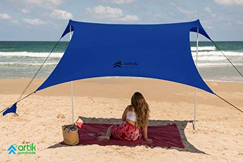 ARTIK SUNSHADE Pop Up Beach Tent Sun Shade for Camping Trips, Fishing, Backyard Fun or Picnics – Portable Canopy with Sandbag Anchors, Two Aluminum Poles & Carrying Bag - UPF50 UV Protection