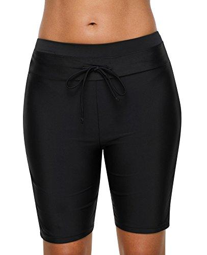 Anwell Women Swimwear Bottom Solid Tankini Shorts Tummy Control Black Medium