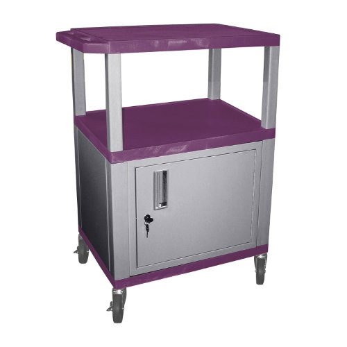 H.Wilson WT34PC4E-N 3 Shelves Purple Tuffy AV Cart with Cabinet Nickel Legs by Luxor