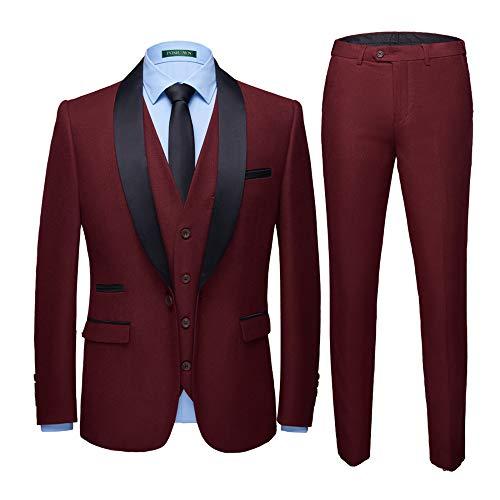 WEEN CHARM Men's Shawl Lapel 3-Pieces Suit Slim Fit One Button Dress Suit Blazer Jacket Pants Tux Vest (XX-Large, Wine Red02)