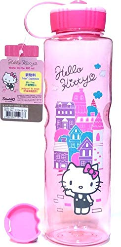 1L Leak-proof Hello Kitty BPA Free Tritan Water Bottle w/Removable Inner Adapter Heat/Cold Resistant Plastic