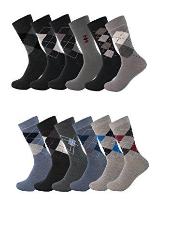 Mens Dress Socks 6 Pack Cotton Argyle Dress Socks Assorted Colors (10-13, Argyle) (Color Navy Shoes Suit)