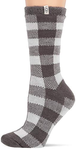UGG Women's W Vanna Check Fleece Lined Sock, Charcoal/White, O/S