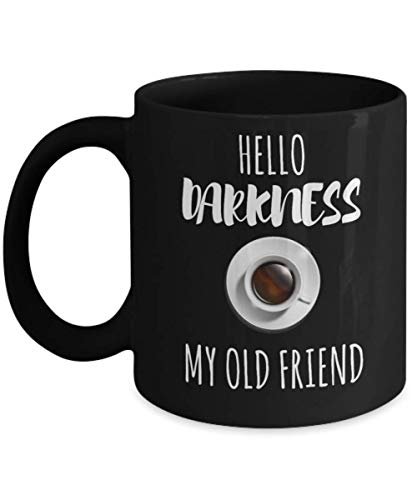 Hello Darkness My Old Friend Funny Mug, Halloween Hello Darkness My Old Friend Cat Mugs, This cat lover tee makes great Halloween costume for cats -
